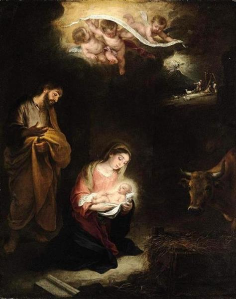 The Nativity with the Annunciation to the Shepherds Beyond - Bartolome Esteban Murillo