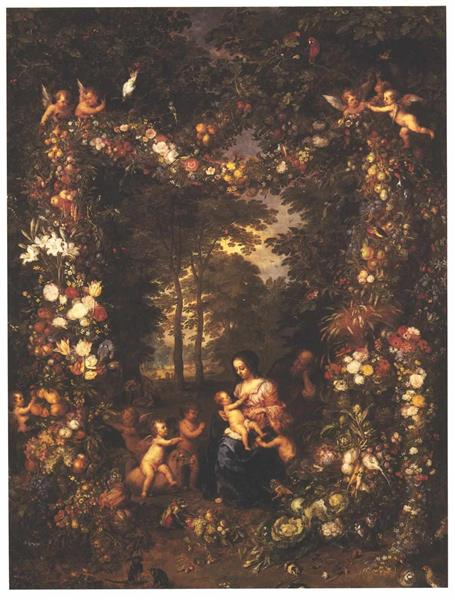 Holy Family with a Garland of Flowers and Fruits - Jan Brueghel the Elder