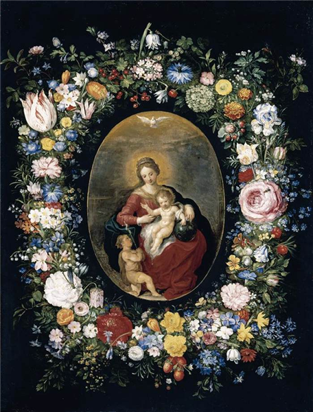 Virgin and Child with Infant St John in a Garland of Flowers - Jan Brueghel the Elder