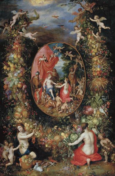 Garland of Fruit Surrounding a Depiction of Cybele Receiving Gifts from Personifications of the Four Seasons - Jan Brueghel the Elder