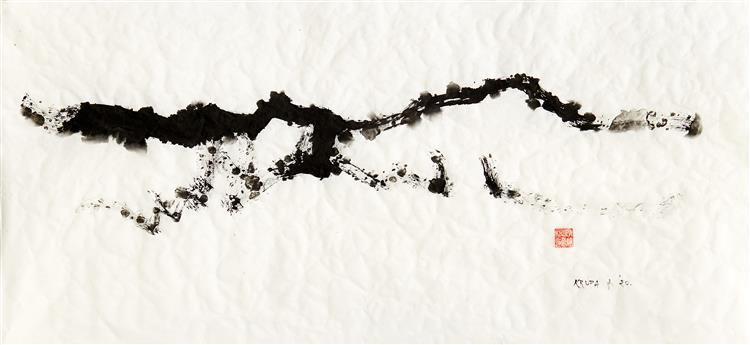 The horizon on 26th of February 2020 (paper wrinkled from snow), 2020 - Alfred Freddy Krupa