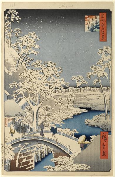 111. Meguro Drum Bridge and Sunset Hill, c.1857 - Hiroshige