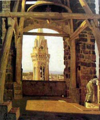 The Tower of the Palazzo Del Podestà, 1865 - Giuseppe Abbati
