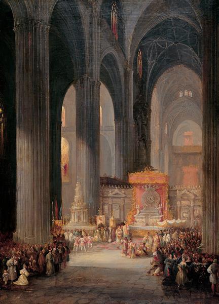 The Corpus Christi Procession Inside Seville Catedral, 1835 - Jenaro Pérez Villaamil