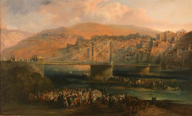View of City of Fraga and Its Hanging Bridge, 1850 - Jenaro Pérez Villaamil