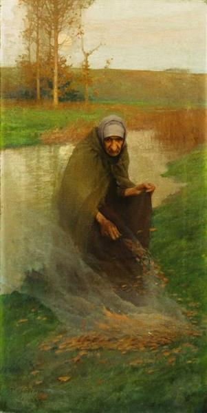 Old Woman Burning Leaves - Frank O'Meara