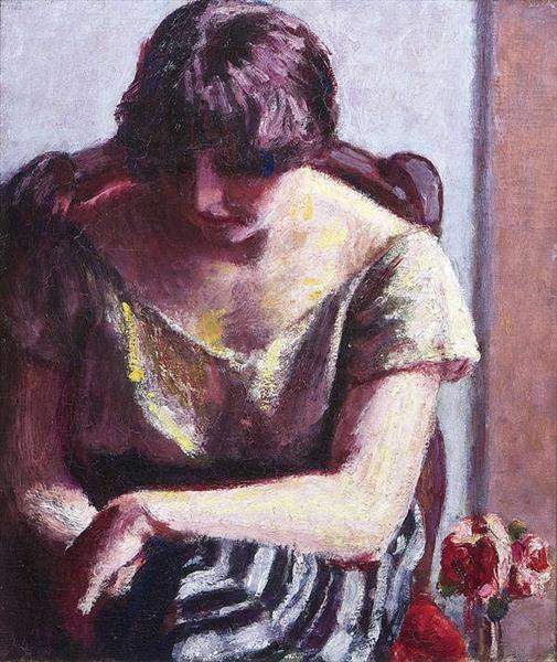 Seated Woman with Roses, c.1925 - Roderic O'Conor
