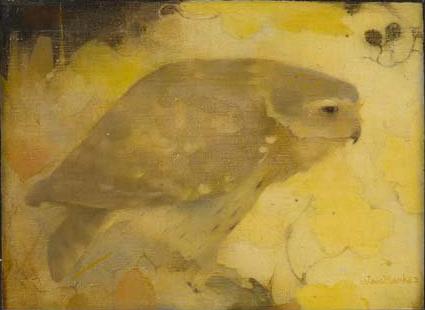 A bird of prey on a branch, 1911 - Jan Mankes