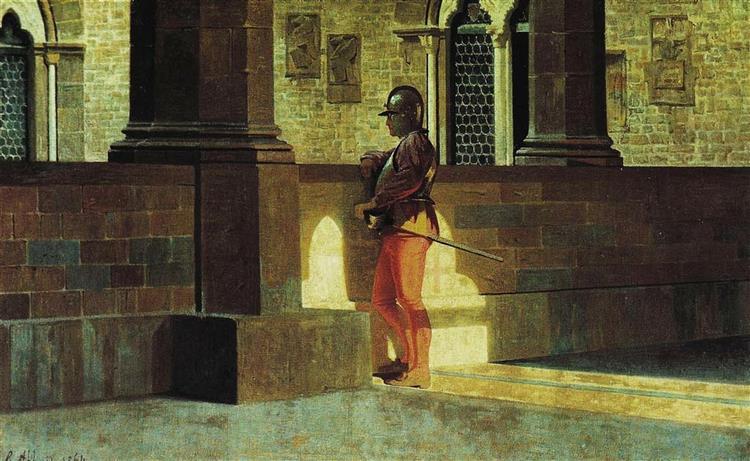 Gallery with armor bearer, 1864 - Giuseppe Abbati