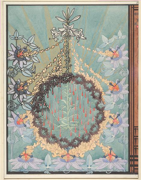 """Design for the Back Cover of """"L'evangile De Notre Seigneur Jesus-Christ Selon Saint Pierre"""", 1895 - Carlos Schwabe"""