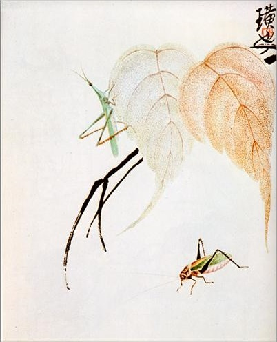 Praying Mantis on a branch, 1950 - Qi Baishi