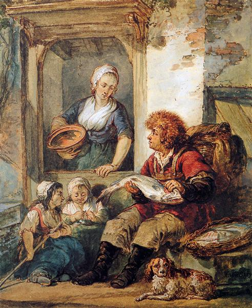 Fish salesman at woman and chidren - Abraham van Strij