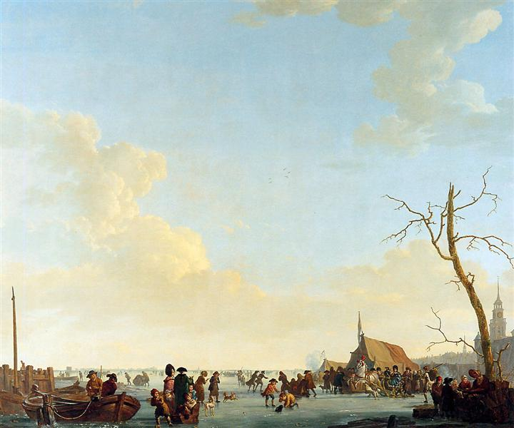 Merriment on frozen river - Abraham van Strij