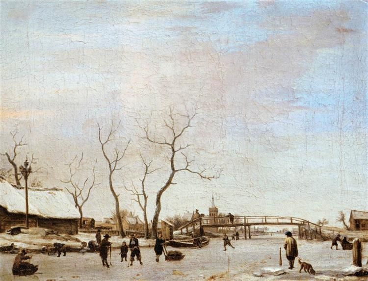 Frozen Canal with Skaters and Hockey Players, 1668 - Adriaen van de Velde