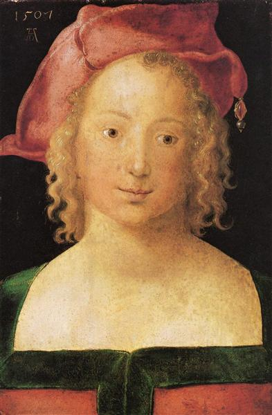Face a young girl with red beret, 1507 - Albrecht Durer