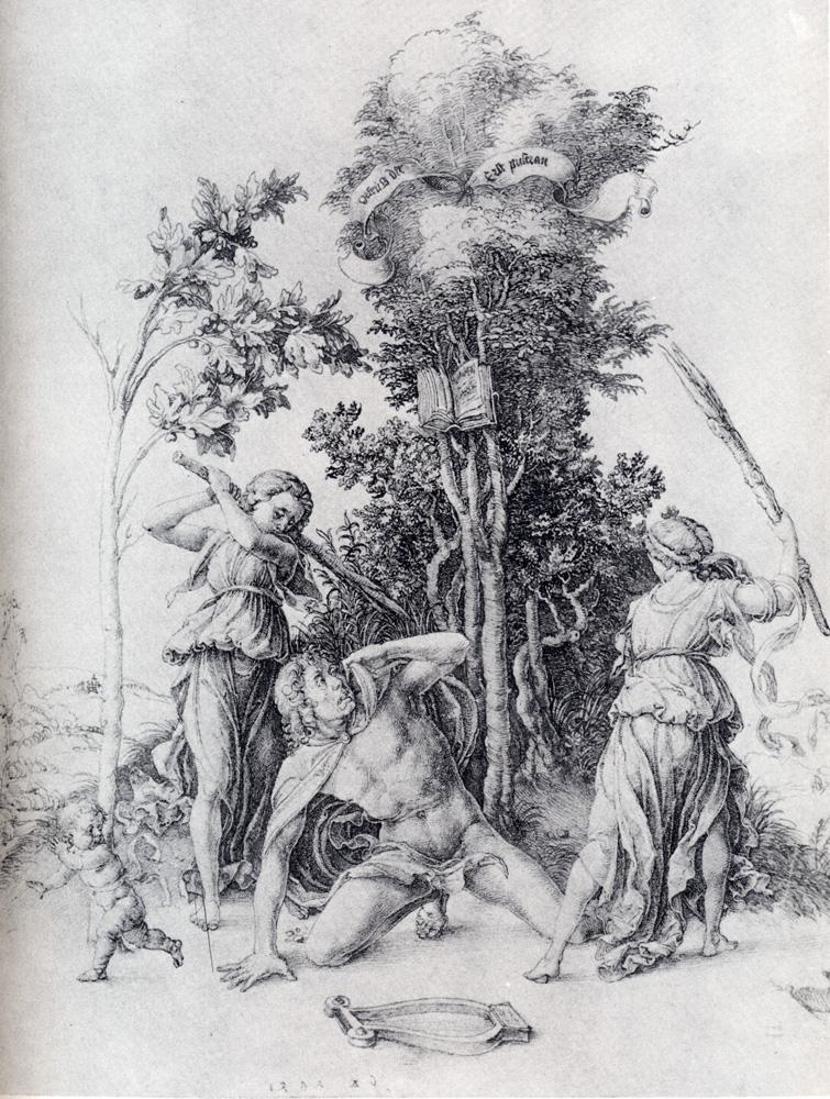 """Ce qu'une des doxa des sciences positives semble faire de """"l'être"""".  Orpheus-slain-by-bacchantes-with-a-boy-running-away-1494"""