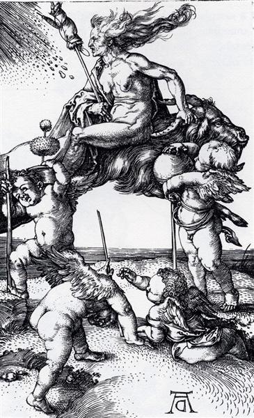 Witch Riding Backwards On A Goat, 1500 - Albrecht Durer