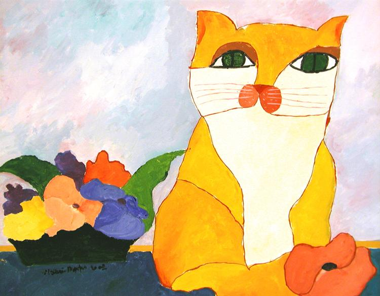 Yellow Cat and Flowers, 2002 - Aldemir Martins