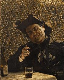 Ksiądz pijący wino - Aleksander Gierymski