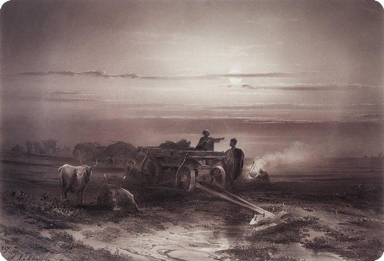Bivouac in the desert convoy Chumakov, 1867 - Alexeï Savrassov