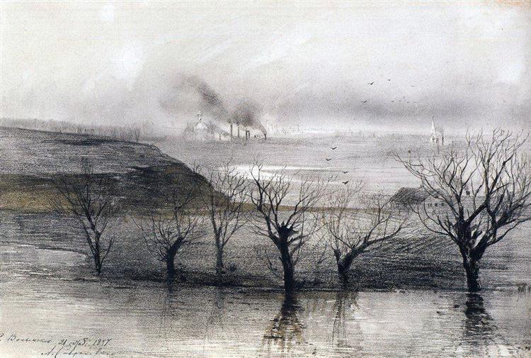 Landscape.The village ofVolyn, 1887 - Aleksey Savrasov