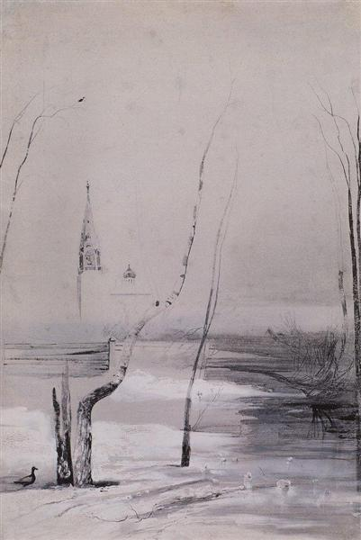 Sketch of the painting migratory birds have come, 1871 - Aleksey Savrasov