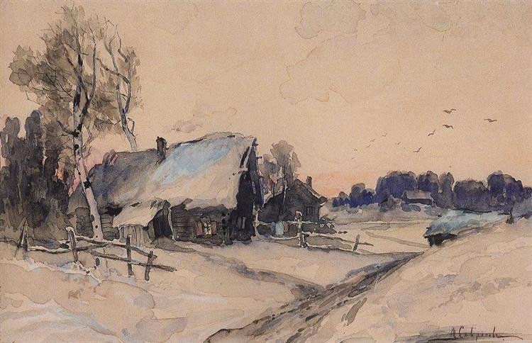 The village in winter, 1880 - 1890 - Aleksey Savrasov