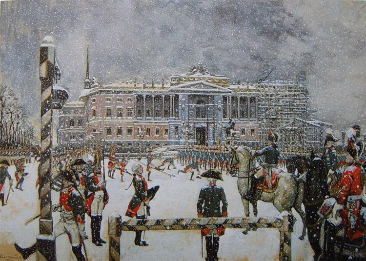 Military Parade of Emperor Paul in front of Mikhailovsky Castle - Alexandre Benois