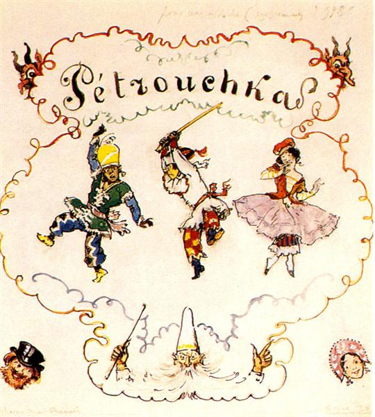 Petrushka. Poster scetch, 1948 - Alexandre Benois