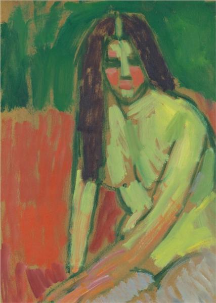 Half-nude figure with long hair sitting bent, 1910 - Alexej von Jawlensky