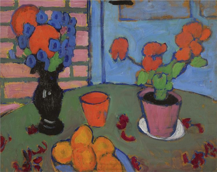 Still-life with flowers and oranges, 1909 - Alexej von Jawlensky