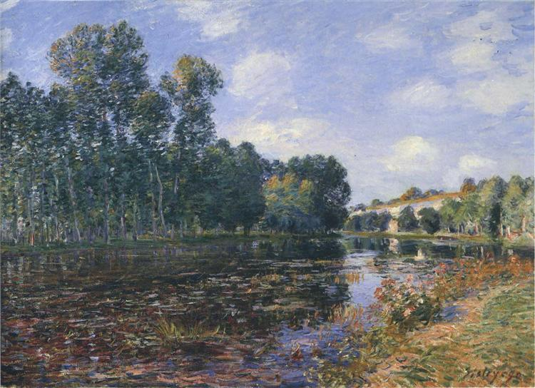 Bend in the River Loing in Summer, 1880 - Alfred Sisley