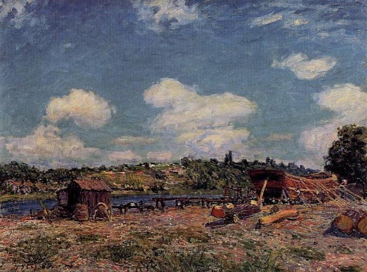 Boatyard at Saint Mammes, 1885 - Alfred Sisley