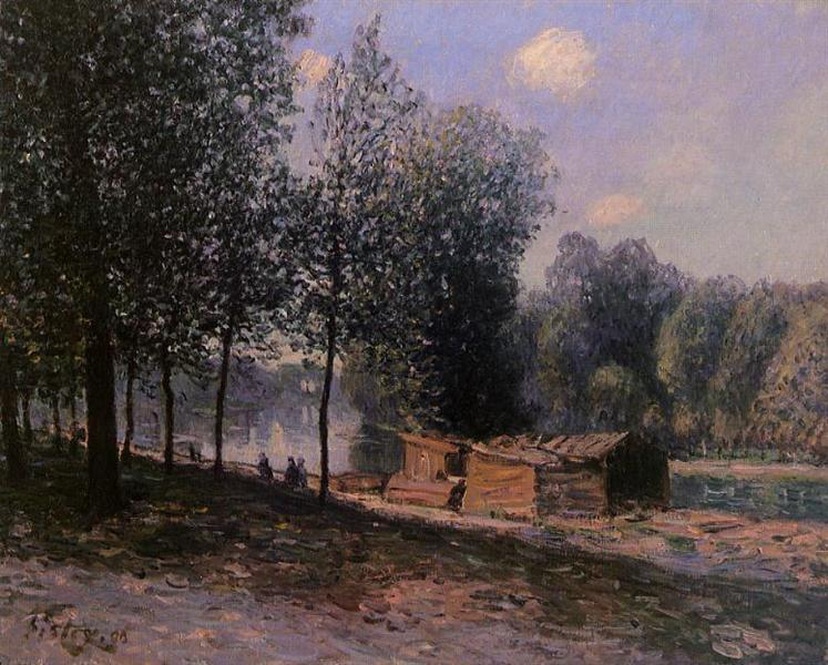 Cabins by the River Loing, Morning, 1896 - Alfred Sisley