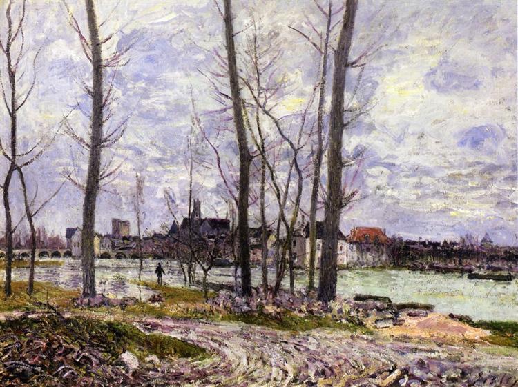 Flood at Moret sur Loing, 1888 - Alfred Sisley