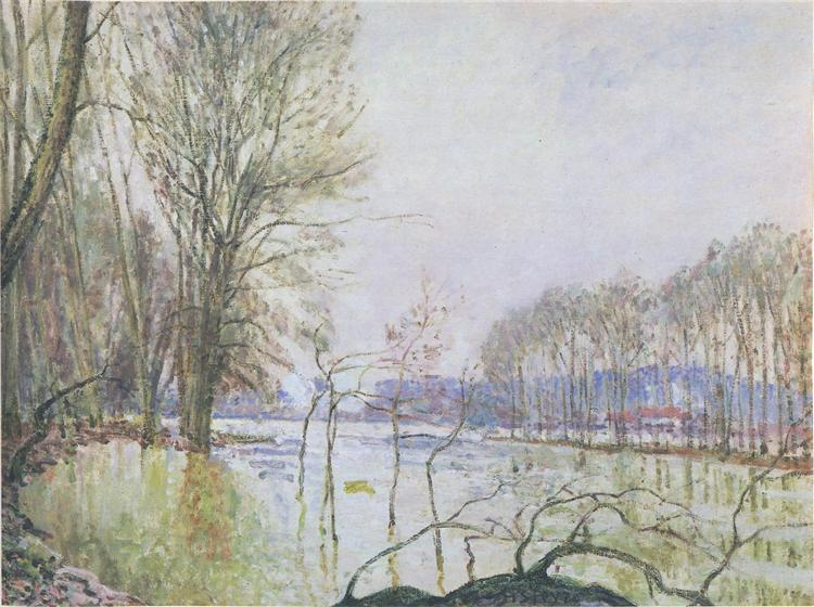 The Banks of the Seine in Autumn flood - Alfred Sisley