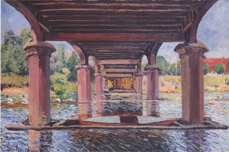 Under the bridge at Hampton Court - Alfred Sisley