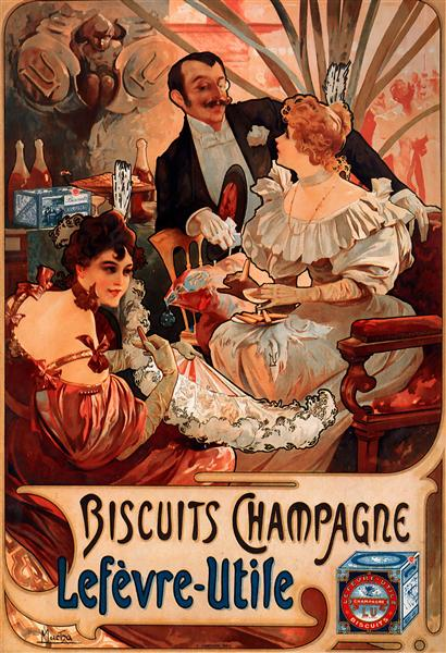 Biscuits Champagne Lefèvre Utile - Alphonse Mucha