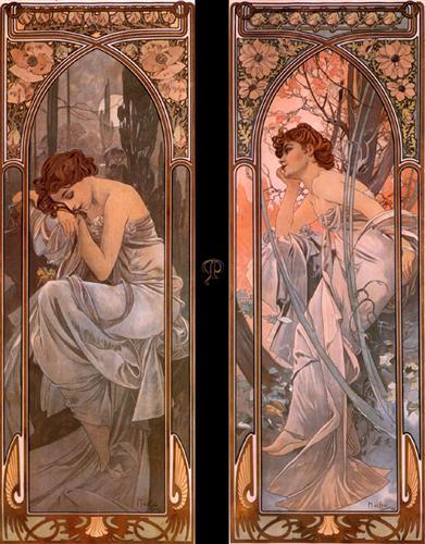 Evening reverie (nocturnal slumber) - Alphonse Mucha