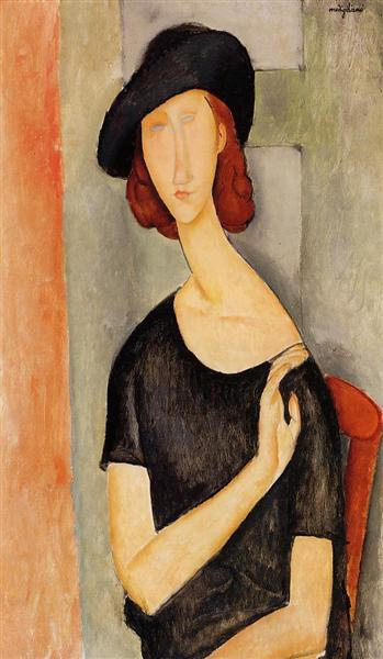 Jeanne Hebuterne in a Hat, c.1919 - Amedeo Modigliani