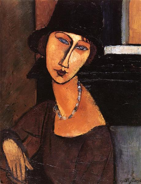 Jeanne Hebuterne with Hat and Necklace, 1917 - Amedeo Modigliani