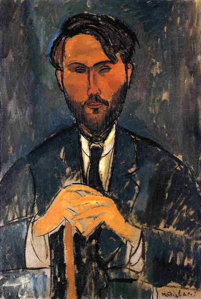 Leopold Zborowski with a walking stick, 1917 - Amedeo Modigliani
