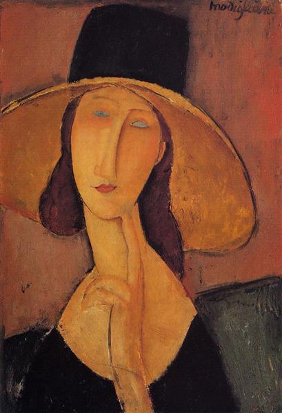 Portrait of Jeanne Hebuterne in a large hat, c.1918 - Amedeo Modigliani