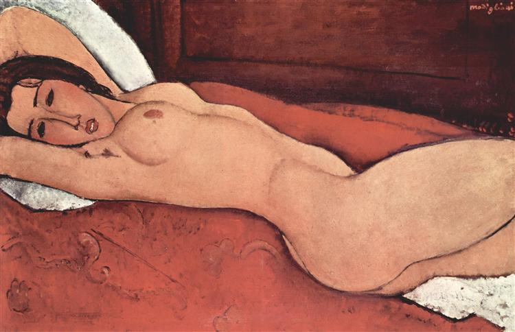 Reclining nude with folded arms behind her head, 1917 - Amedeo Modigliani