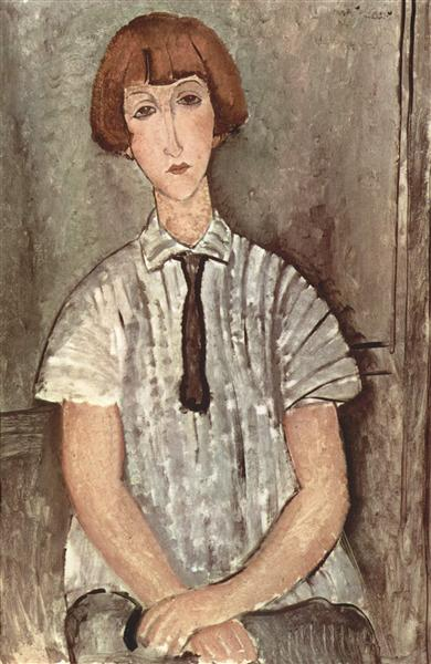 Young Girl in a Striped Shirt, 1917 - Amedeo Modigliani