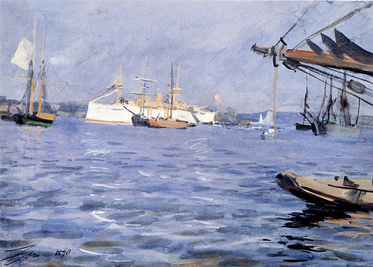 The Battleship baltimore In Stockholm Harbor, 1890 - Anders Zorn