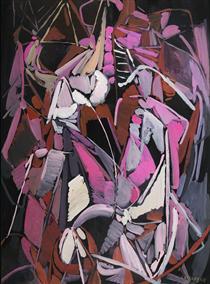 Composition rose et parme sur fond noir - Andre Lanskoy