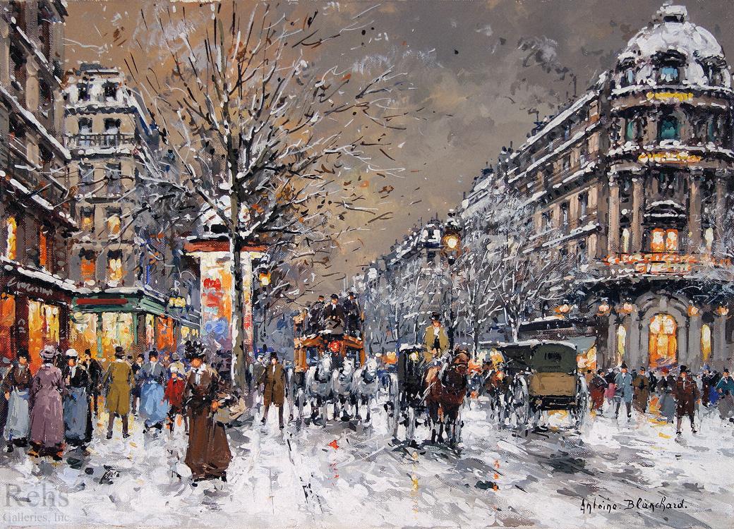 Les Grands Boulevards Sous La Neige Antoine Blanchard