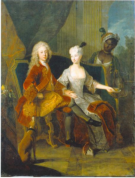 Portrait of the crown prince Friedrich Ludwig of Württemberg and his wife Henriette Marie of Brandenburg Schwedt, c.1716 - Antoine Pesne