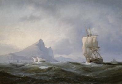 Sailing ship off Gibraltar, 1851 - Anton Melbye